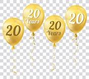 Golden Transparent Balloon 20 Years Stock Photo