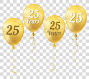 Golden Transparent Balloon 25 Years Royalty Free Stock Images