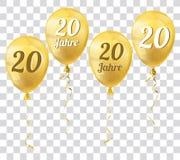 Golden Transparent Balloons 20 Jahre. German text 20 Jahre, translate 20 Years Stock Photos