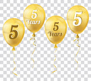 Golden Transparent Balloons 5 Years Royalty Free Stock Image