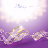 Golden transparent bow on purple Stock Images