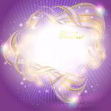 Golden transparent ribbon on purple Stock Image