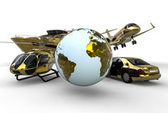 Golden transportation. 3D render image representing a golden transportation fleet around the globe Royalty Free Stock Photography
