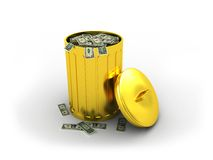 Golden trashcan. 3d illustration of golden trashcan with money Royalty Free Stock Images