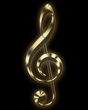 Golden treble clef. Isolated on black Royalty Free Stock Photo