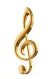 Golden treble clef. 3d render Stock Photos