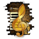 Golden treble clef on a brick wall. Vector illustration golden treble clef on a background of a brick wall and saxophone and piano keys. Isolated objects can be Stock Images