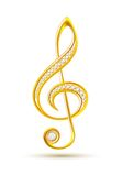 Golden treble clef with diamonds Royalty Free Stock Images