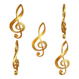 Golden treble clef in different projections. Golden treble spanner in different projections three-dimensional image. Isolated object on a white background can be Stock Photography