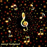 Golden treble clef and musical notes on a background of bright confetti stock illustration