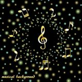 Golden treble clef and musical notes on a background of bright confetti vector illustration