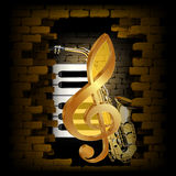 Golden treble clef saxophone piano key on a brick wall. Vector illustration golden treble clef on a background of a brick wall and saxophone and piano keys. The Stock Photos