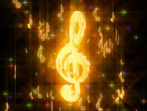 Golden treble clef, surrounded by musical signs Stock Images