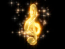 Golden treble clef, surrounded by stars Royalty Free Stock Images
