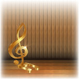 Golden treble clef on wooden background. Vector illustration of gold and a gold treble clef note on a wooden background. You can use any text or image on a white Stock Photo