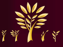 Golden Tree. Collection for simple tree with leaf and branch Royalty Free Stock Images