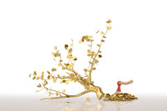 A golden tree with an axe on the white background.3D illustratio Royalty Free Stock Photos