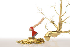 A golden tree with an axe on the white background.3D illustratio Stock Photography