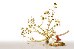 A golden tree with an axe on the white background.3D illustratio Stock Photo