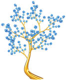 Golden tree with blue flowers Royalty Free Stock Photos