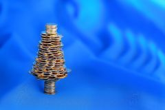 Golden tree on blue Royalty Free Stock Photography