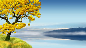 Golden tree in blue landscape Royalty Free Stock Photos