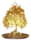 Golden tree with coins. Gold-plated, jewelry tree with golden coins on patent patterned base, create one in the Oriental style Royalty Free Stock Photo