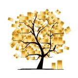 Golden tree concept for your design Royalty Free Stock Photo
