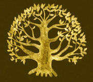 Golden tree drawing, sketch stock illustration