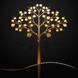 Golden tree. Elegant black background with golden tree Stock Photo