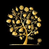 Golden tree with flowers for your design Stock Image
