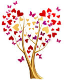 Golden tree with hearts and butterflies Stock Image
