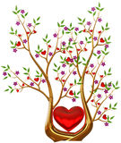 Golden tree with hearts and flowers. Beautiful golden tree with expensive ruby red hearts, green leafs and lilac flowers as jewelry Royalty Free Stock Images