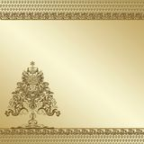 Golden tree ornate background Stock Photos