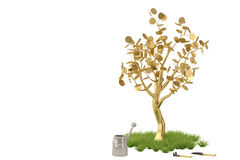 Golden tree with watering pot.3D illustration. Golden tree with watering pot 3D illustration Royalty Free Stock Photo