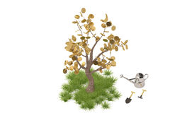 Golden tree with watering pot.3D illustration. Golden tree with watering pot Stock Images
