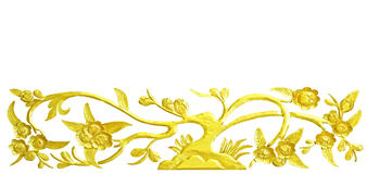 Golden tree wood carving. On white background, clipping path royalty free stock images