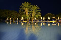Golden trees reflected in the pool the night / holiday in Cyprus. Holiday in Cyprus, a Reflection in the night pool, Night hotel, Time for rest and relaxation Stock Images