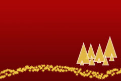 Golden trees and stars on the red background. The dark red christmas background with gold silhouettes of trees and the strip of golden stars at the bottom right stock illustration