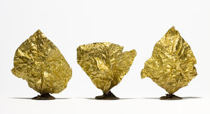 Golden treeses. Leveled in one line Stock Images