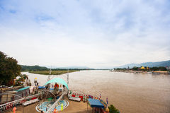 Golden Triangle - the border of Thailand, Burma and Laos. View from the Thailand side, Mekong river stock image