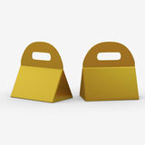 Golden triangle box with handle, clipping path included Royalty Free Stock Image