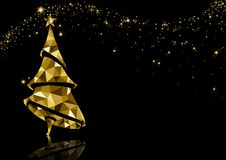 Golden Triangle Christmas Tree Background. With Reflection and Sparkling Stars on Black - Luxury Abstract Illustration, Vector stock illustration