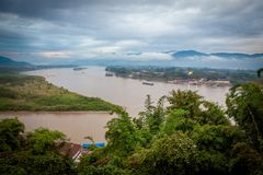 Golden Triangle at Mekong River, Chiang Rai Province royalty free stock images