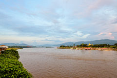 Golden Triangle Park Sob Ruak. Natural landscape of Mekong River is a muddy color during sunset at Golden Triangle Park Sob Ruak is the border between Thailand stock photo