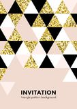 Golden triangle pattern background for invitation card or holida festival party poster design template of triangle modern trendy g. Olden elements. Vector Stock Image