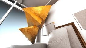 Golden Triangles in Museum Royalty Free Stock Photo