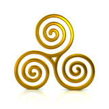 Golden Triskele symbol. 3d illustration of golden Triskele symbol on white background Royalty Free Stock Images