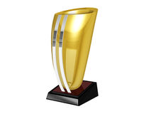 Golden Trohpy. Golden trophy in a isolated background with silver details Stock Photo