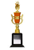 Golden trophies. Awards cup isolated stock image